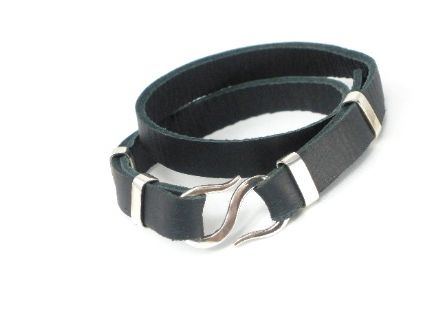 Silver 925 Black Leather double wrap Bracelet